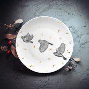 Šķīvis, dadzis, mazais, 20cm diametrā, Trīs putni ar zelta liepziedu elementiem