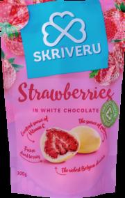 Skrīveru saldumi, zemenes baltajā šokolādē, 100g rozā iepakojumā