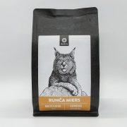 Malta kafija, 250g, 40% Brazīlija, 60% Kolumbija, ar melnās šokolādes, riekstu un kakao garšas niansēm, ar attēlotu lūsi un tekstu - Runča miers