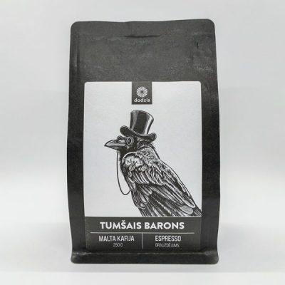 Malta kafija, 250g, 40% Brazīlija, 60% Kolumbija, ar melnās šokolādes, riekstu un kakao garšas niansēm, ar attēlotu kraukli un tekstu - Tumšais barons