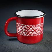 Metāla krūze, 540ml, sarkanā krāsā, ar attēlotu Lielvārdes jostu