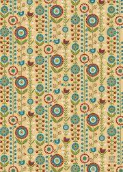 """Dāvanu papīrs """"Putni ziedos"""" (500x700mm)"""
