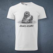 Vīriešu t-krekls, baltā krāsā ar attēlotu roni un tekstu - kRonis visam