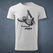 Vīriešu t-krekls, gaiši pelēkā krāsā ar attēlotu sliņķi un tekstu - profesionāls sliņķis