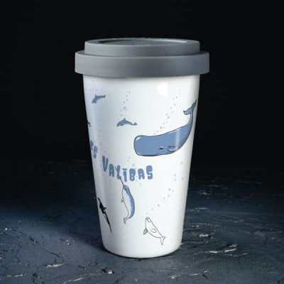 Porcelāna ceļojuma termo krūze, ar vāciņu, 290ml, Vaļi, Atļaujies valības