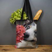 Latvijas Tekstils, lina maisiņš Suns ar puķi, 35x40cm