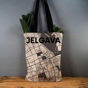 """Latvijas Tekstils, lina maisiņš """"Jelgava - ielu raksti"""" uz pelēka, 35x40cm"""