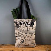"""Latvijas Tekstils, lina maisiņš """"Liepāja - ielu raksti"""" uz pelēka, 35x40cm"""