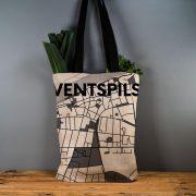 """Latvijas Tekstils, lina maisiņš """"Ventspils - ielu raksti"""", uz pelēka fona, 35x40cm"""