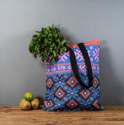 Latvijas Tekstils, lina maisiņš ar Nīcas etnogrāfiskajiem rakstiem, 35x40cm