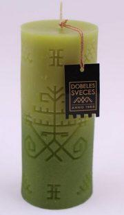 Dobeles sveces, zaļa svece cilindra formā ar zaļu metāllaku, Austras koks, 60x140mm