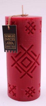 Dobeles sveces, sarkana sojas vaska svece cilindra formā ar Akas zīmi