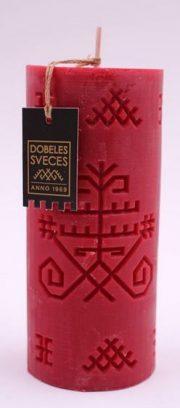 Dobeles sveces, sarkana sojas vaska svece cilindra formā ar Austras koku
