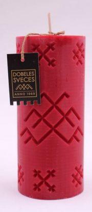 Dobeles sveces, sarkana sojas vaska svece cilindra formā ar Jumja zīmi