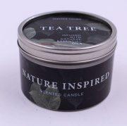 Dobeles sveces, svece metāla traukā ar tējas koka aromātu