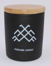 Dobeles sveces, svece cilindra stikla trauciņā ar vāciņu ar Jumja zīmi, 74x83mm
