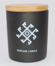 Dobeles sveces, svece cilindra stikla trauciņā ar vāciņu ar Ugunskrustu, 74x83mm