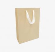 Dāvanu maisiņš ar lentītes rokturiem, bēšs, matēts, 23x10x33cm