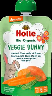 """Holle, BIO burkānu un saldo kartupeļu biezenis ar zirņiem """"Veggie Bunny"""" no 6 mēn., 100g"""