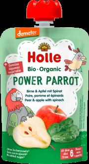 """Holle, BIO bumbieru un ābolu biezenis ar spinātiem """"Power Parrot"""" no 6 mēn., 100g"""