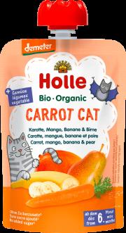 """Holle, BIO burkānu, mango, banānu un bumbieru biezenis """"Carrot Cat"""" no 6mēn., 100g"""