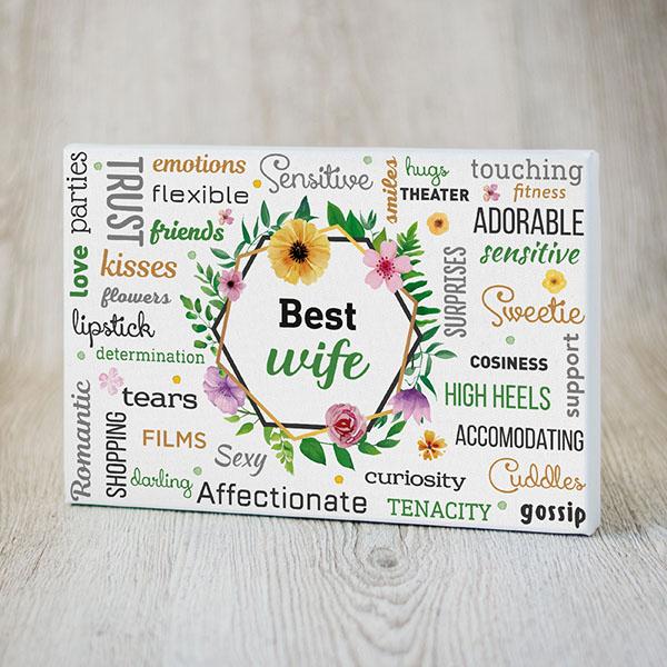 Kanva ar krāsainiem tekstiem angļu valodā par labāko sievu