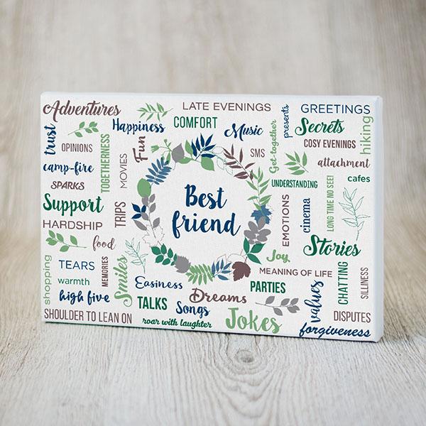 Kanva ar krāsainiem tekstiem par labāko draugu angļu valodā