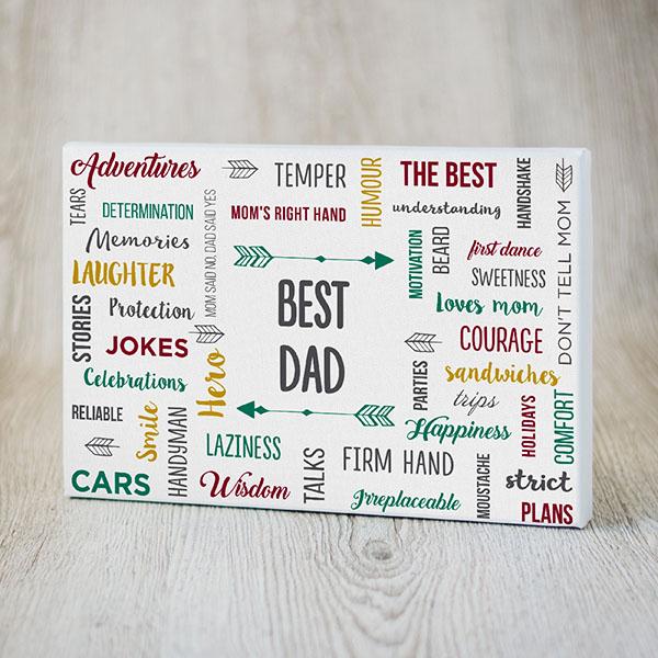 Kanva ar krāsainiem tekstiem angļu valodā par labāko tēti
