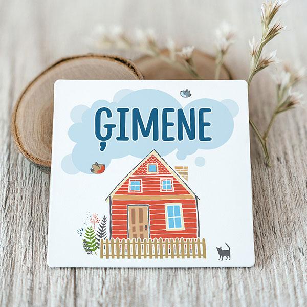 Vinila magnēts ar māju un tekstu Ģimene