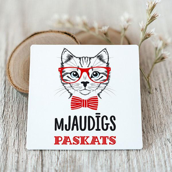 Vinila magnēts ar kaķi ar tekstu mJaudīgs paskats