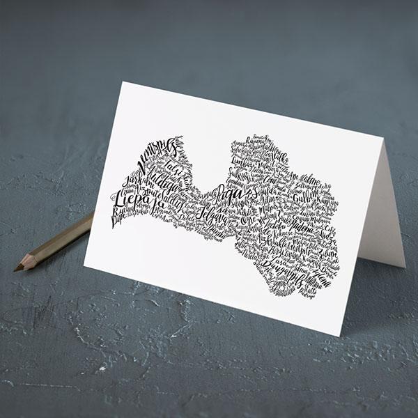 Apsveikuma kartiņa ar Latvijas pilsētām