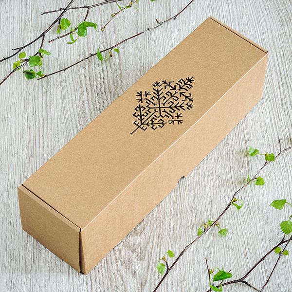 Dāvanu kaste vīna pudelēm ar lāzergrieztu Austras koku