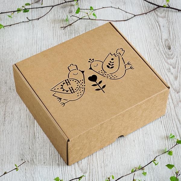 Dāvanu kaste ar diviem lāzergrieztiem slāvu putniem