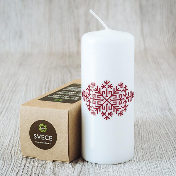 Balta svece ar sarkanu apdruku ar Austras koku