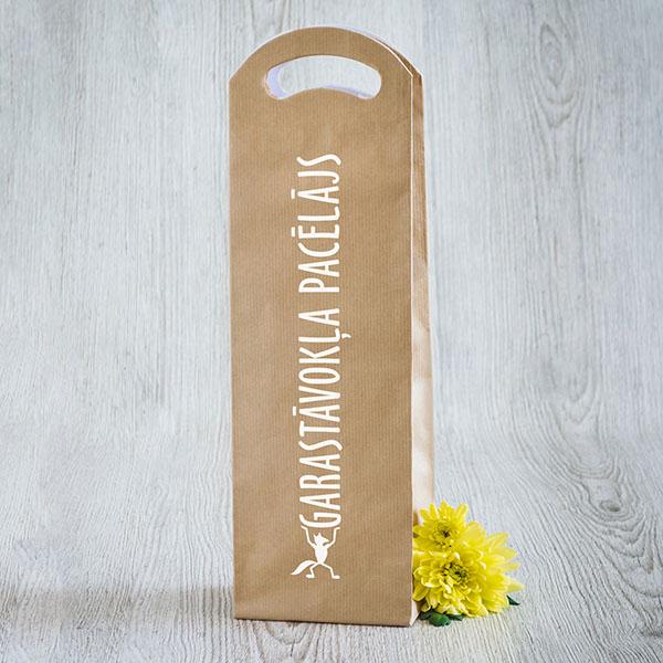 Dāvanu maisiņš vīna pudelēm ar baltu tekstu Garastāvokļa pacēlājs