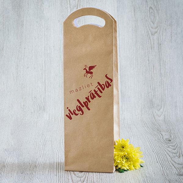 Dāvanu maisiņš vīna pudelēm ar sarkanu tekstu Mazliet vieglprātības