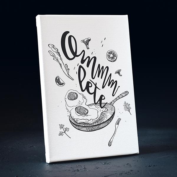 Balta kanva ar melnu apdruku ar omleti ar tekstu ommmlete