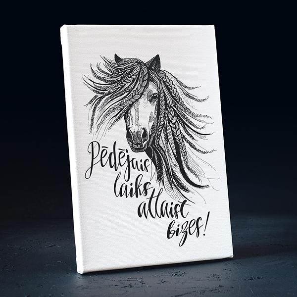 Balta kanva ar melnu apdruku ar zirgu ar tekstu Pēdējais laiks atlaist bizes