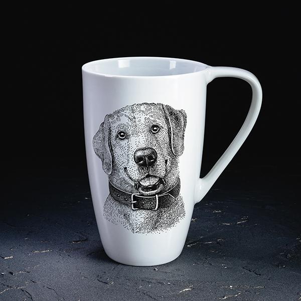 Balta krūze ar melnu apdruku ar suņa attēlu bez teksta