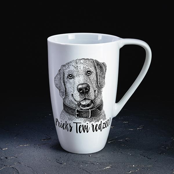 Balta krūze ar melnu apdruku ar suņa attēlu un tekstu Prieks Tevi redzēt