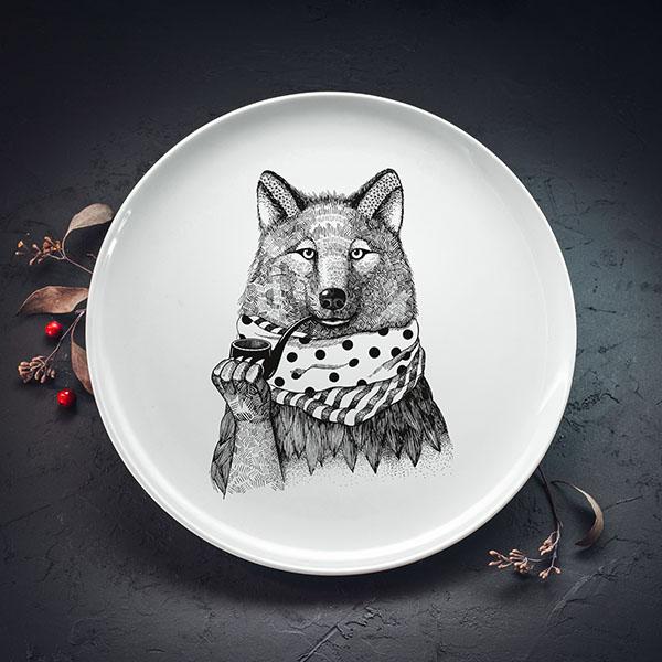 Balts lielais šķīvis ar melnu vilka apdruku