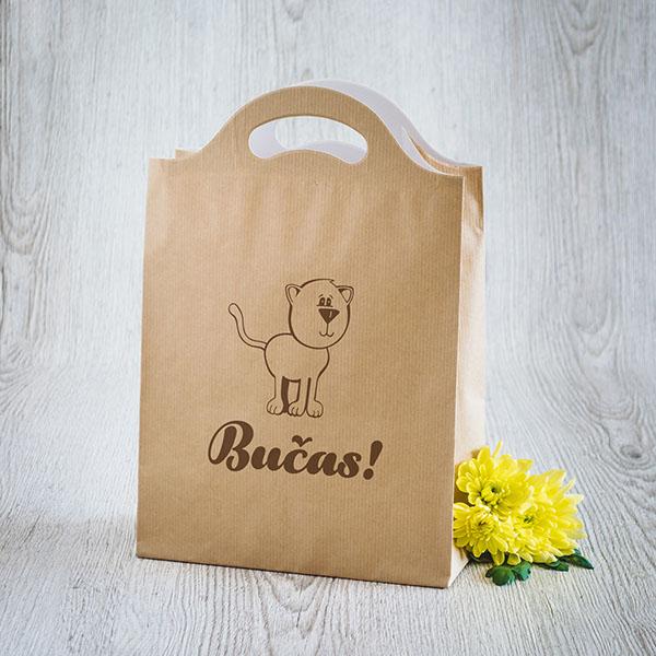 Gaišs dāvanu maisiņš ar brūnu kaķi un tekstu Bučas!