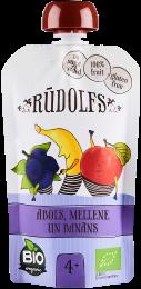 Biezenis ar ābolu, melleņu un banānu garšu bērniem vecumā no 4 mēnešiem