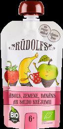 Biezenis ar ābolu, zemeņu, banānu garšu bērniem vecumā no 6 mēnešiem