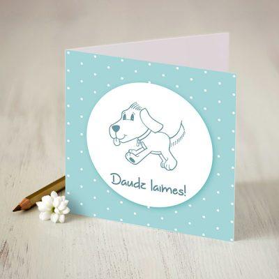 Atverama kartīte zilā krāsā ar baltu apdruku ar suni