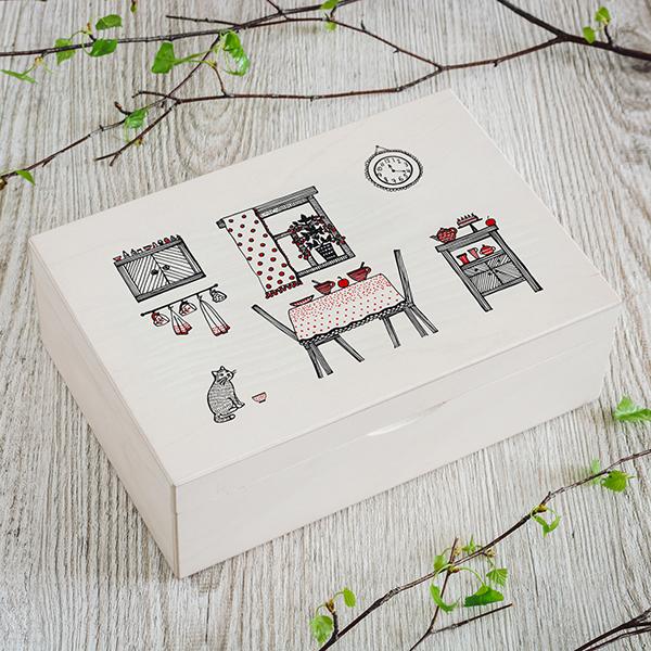 Gaiši brūna koka kaste ar krāsinu UV apdrukas virtuves zīmējumu, (2x3)