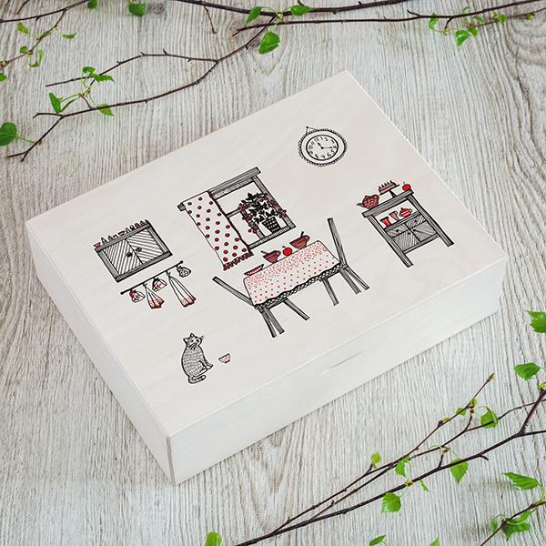 Gaiši brūna koka kaste ar krāsainu UV apdrukas virtuves zīmējumu, (3x4)