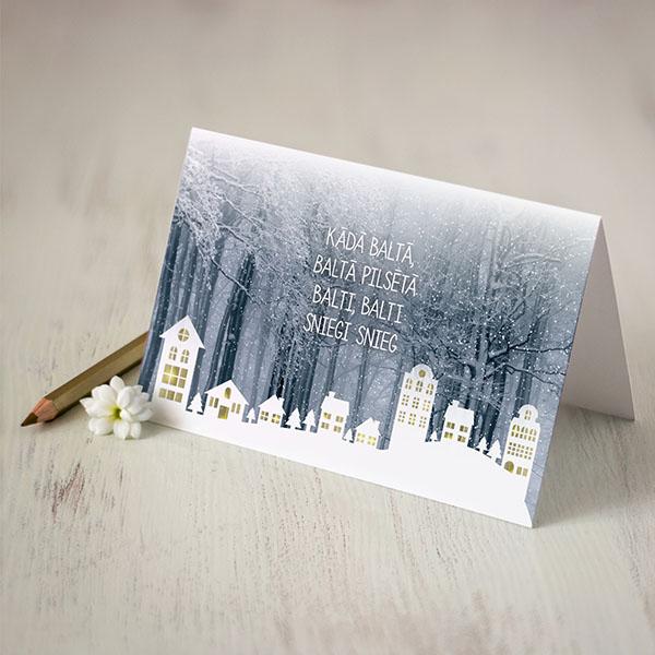 Kartiņa ar Ziemassvētku pilsētas apdruku