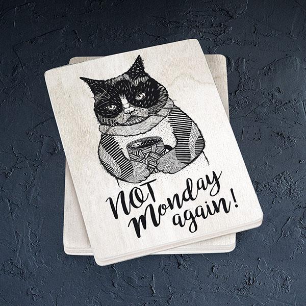 """Balts magnēts ar melnu kaķa zīmējumu un tekstu: """"Not Monday again!"""""""