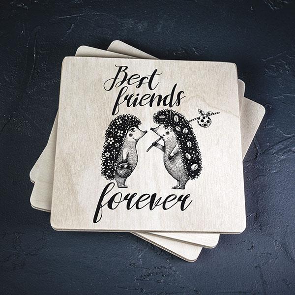 """Krūžu paliktnis ar divu ež zīmējumu un tekstu: """"Best friends forever"""""""